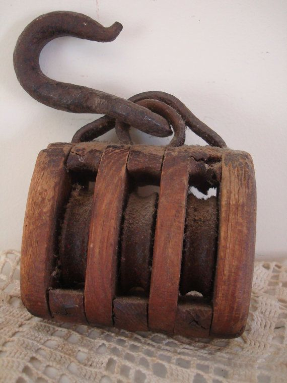 Vintage wooden pulley pulleys wheels gears i pinterest for Uses for old pulleys