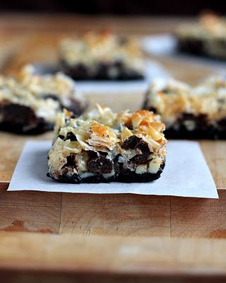 Almond Joy Cookie Bars... chocolate, almonds and toasted coconut.