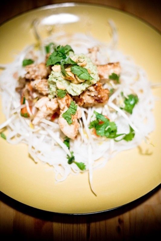 Thai Coconut Lemongrass Chicken with Cilantro Peanut Pesto