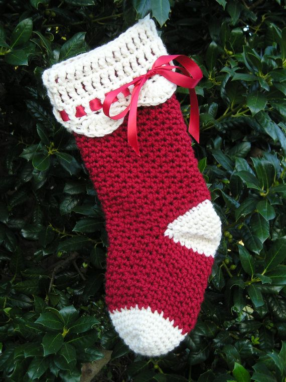 Crochet Patterns For Xmas Stockings : Pattern - Crochet - Christmas Stocking Crochet Pinterest