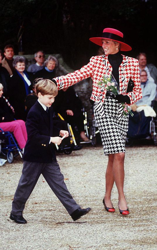 Diana is stunning in houndstooth as she and William attend church in Sandringham. via StyleList