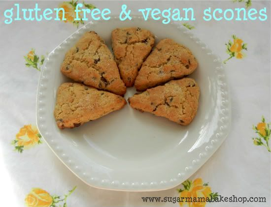 Gluten free,vegan chocolate-chip scones
