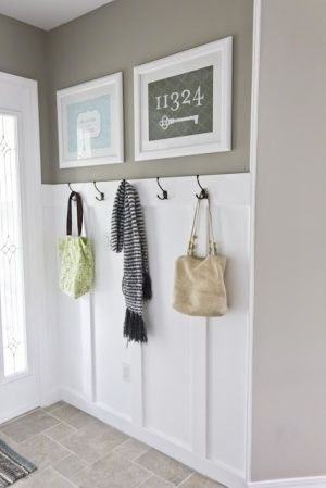 Entryway idea - should add white wainscoting & hooks to wall opposite closet to balance whites