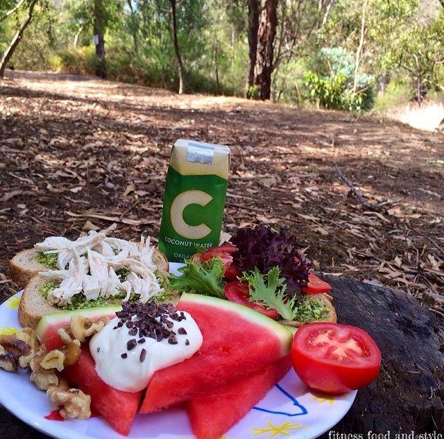 Salad, watermelon, yogurt, nuts, whole grain bread, chicken, coconut ...