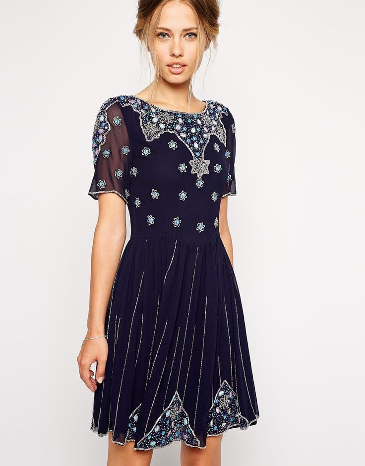 Chi Chi Midi London Metallic Lace Prom Dress additionally Five Fabulous Dresses From ASOS  gt  Shoeperwoman likewise FROCK AND FRILL Embellished Cami Shift Dress together with Vero Moda furthermore Midi Skater Dresses With Tulle. on frock and frill embellished skater dress