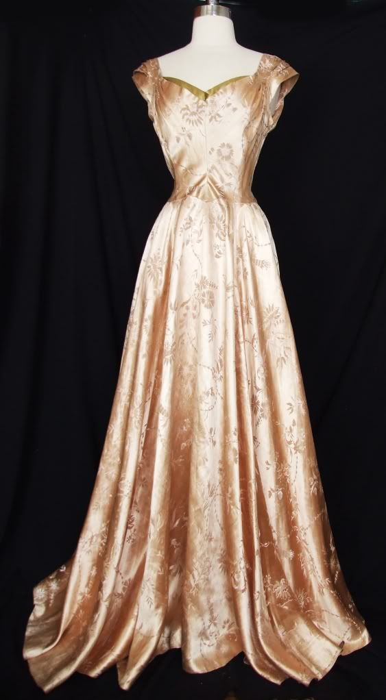 Vtg 30s 40s silk satin brocade evening gown party dress for 30s style wedding dress