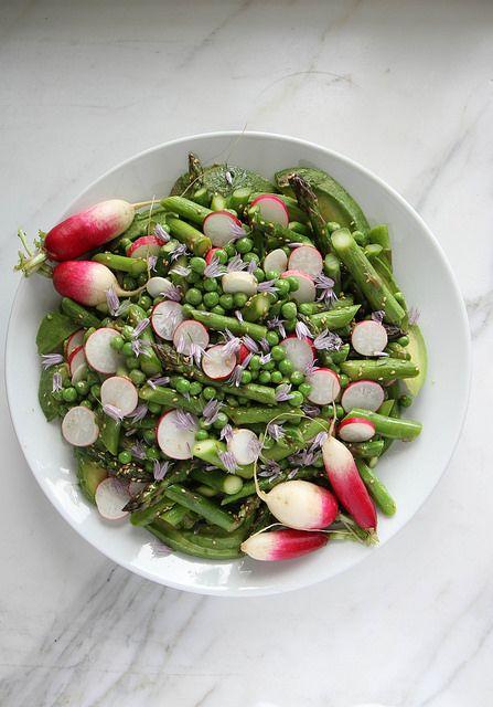 Avocado, Asparagus, Pea and Radish Sesame Salad by Heather Christo