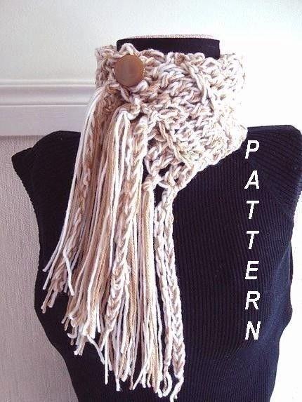 Crochet Scarf Pattern With Fringe : Crochet Scarf Jumbo Fringed Scarf, CROCHET PATTERN scarf ...
