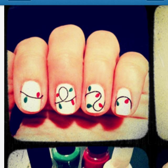 Christmas light nails. | Bling for my nails:) | Pinterest