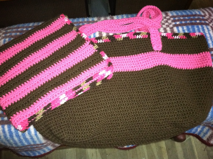 Crocheted bag and baby blanket Crochet Pinterest