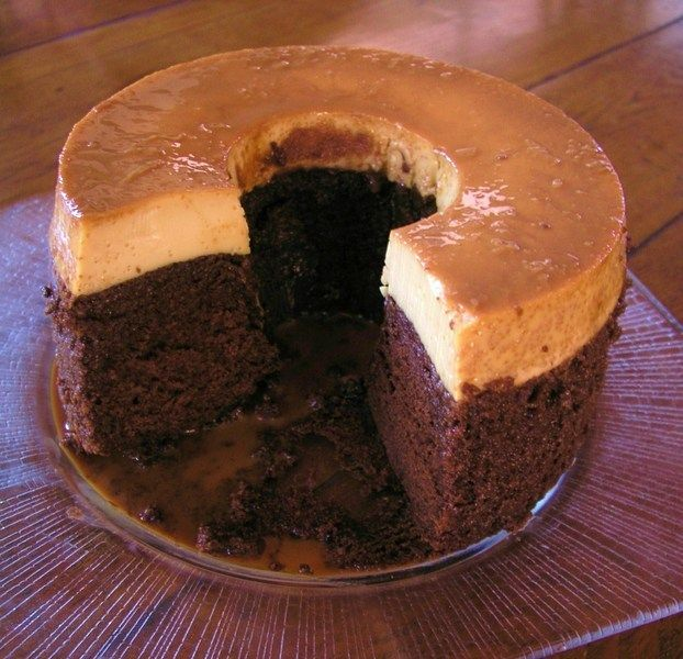 chocolate cake baked with flan on the top. When done, the flan ...
