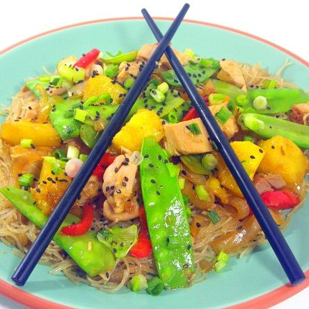 Chicken, Snow Peas and Pineapple on Garlic Noodles