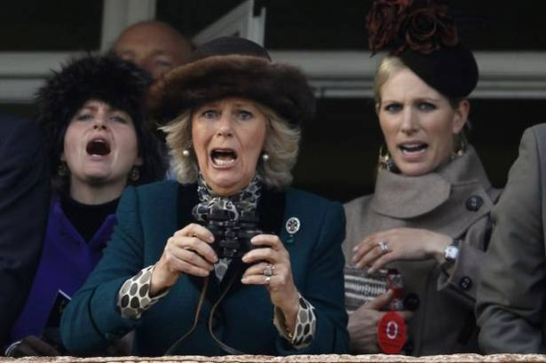 Camilla and Zara compete to see who can open her mouth wider only to be upstaged by a non-royal in blue.