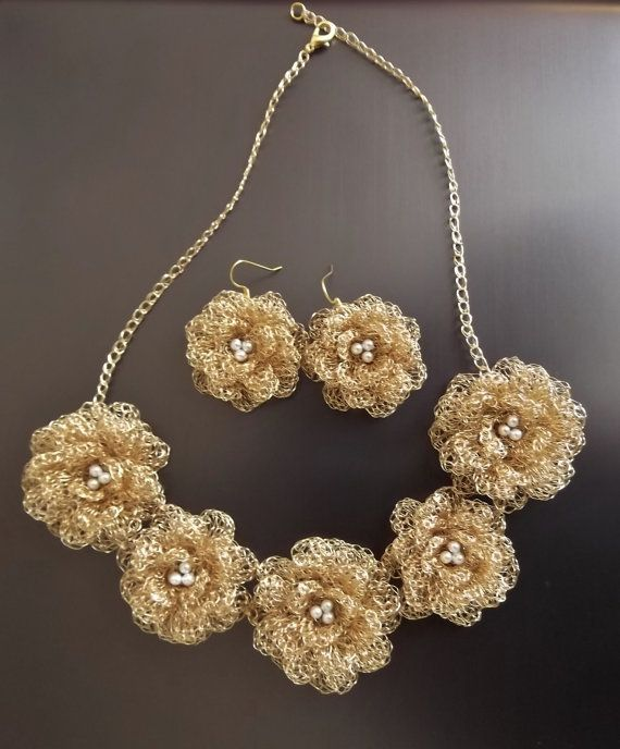 Wire crochet jewelry, gold flowers,brides jewelry, bridesmaid gift