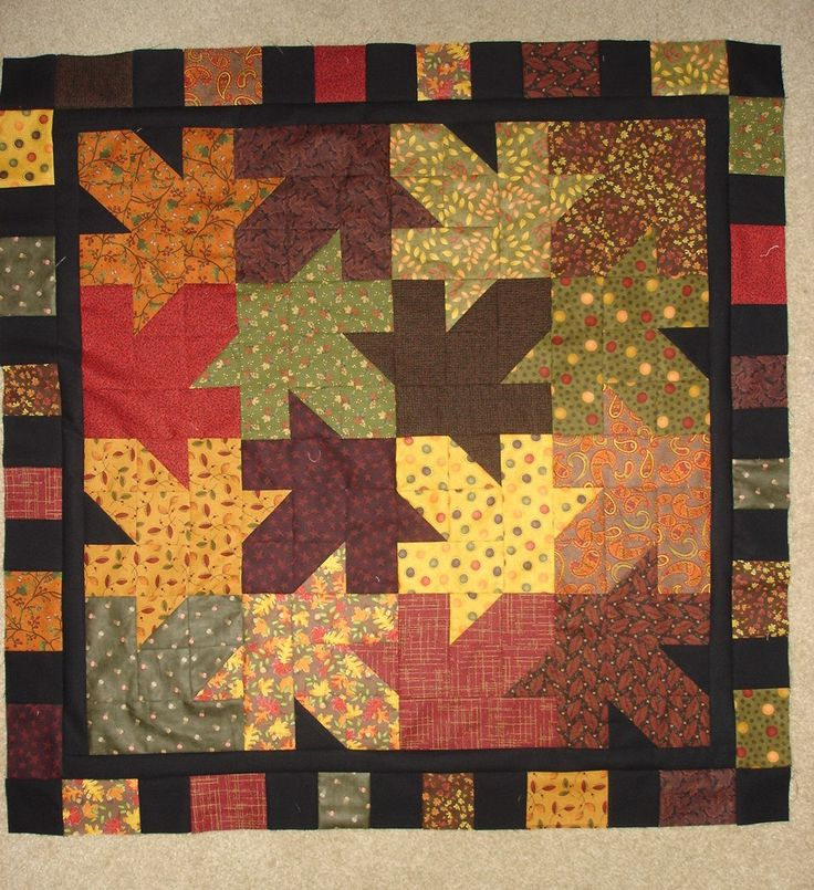 Quilt Patterns With Leaves : Instructions- pattern only-FALLING LEAVES Quilt 37 inches square -Fall Autumn table topper ...