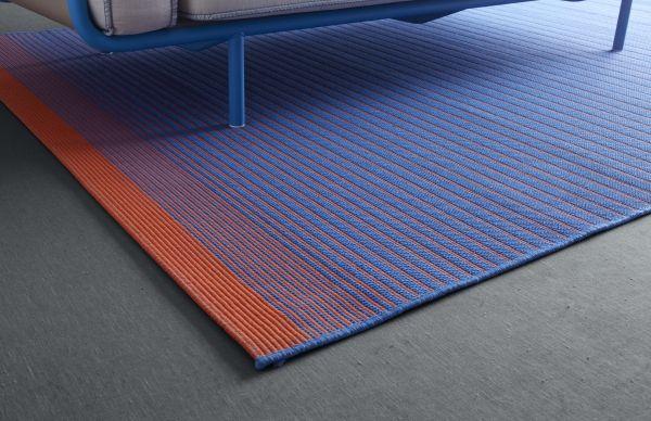 MEJLBY Rug flatwoven blue indoor outdoor blue orange