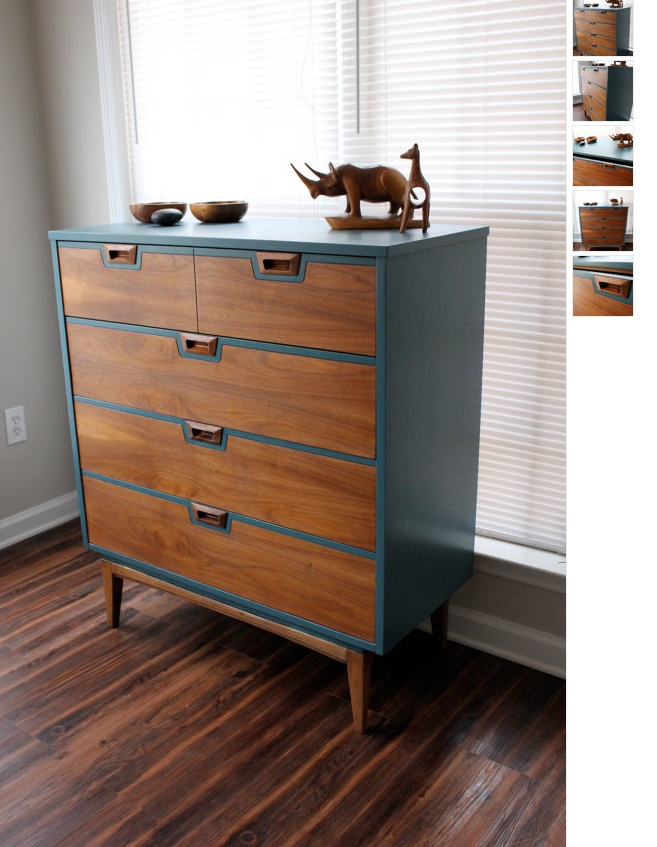 Refurbished mid century modern dresser etsy furniture for Painted mid century modern furniture