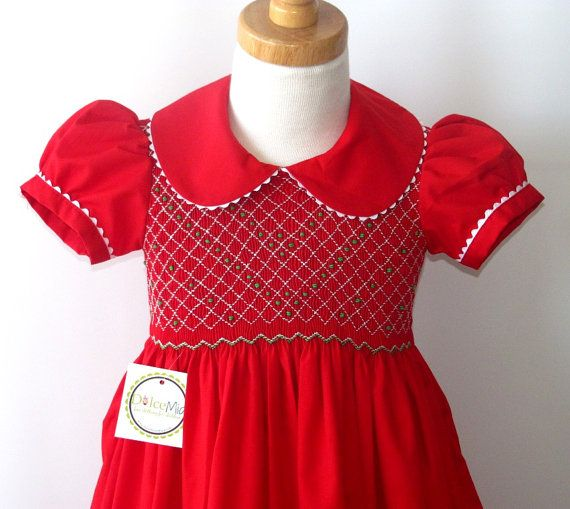 Red christmas smocked dress for girls and toddlers by handsmocked 54