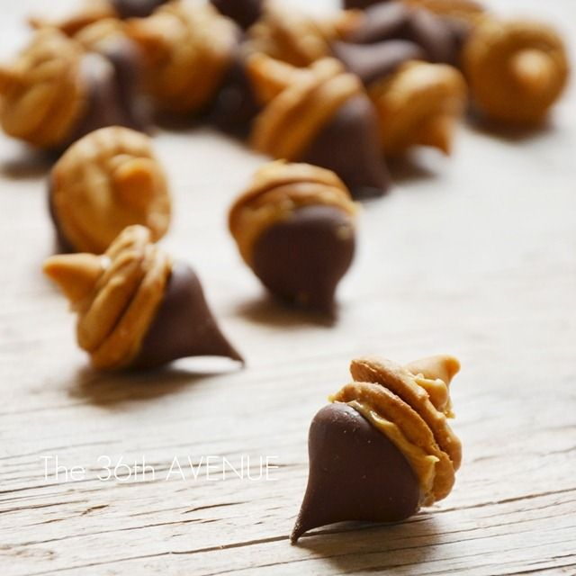 Chocolate Peanut Butter Acorns...so cute for Thanksgiving!