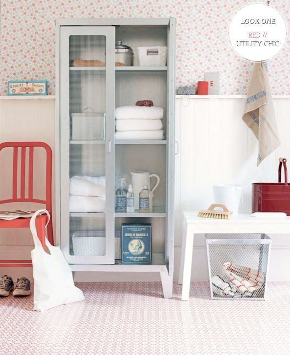 Utility chic.  Red & white mosaic floor + linen cabinet + wainscotting