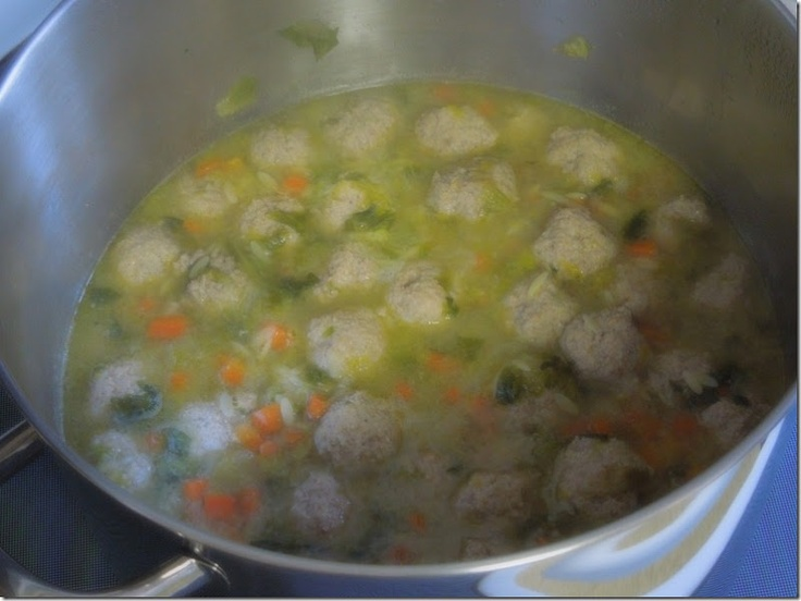 Italian Escarole Soup with Turkey Meatballs [ Zuppa di Scarola ]