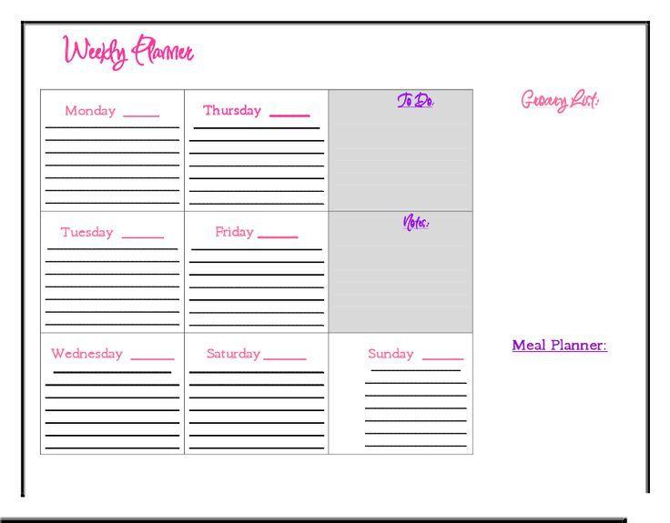 Weekly Planner | DIY Ideas | Pinterest