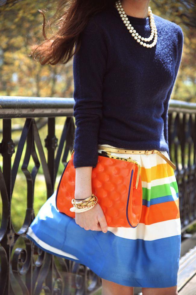 navy, orange, stripes