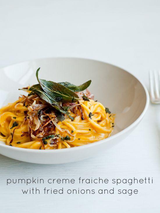 Johnsonia: Pumpkin Creme Fraiche Spaghetti with Fried Onions and Sage ...