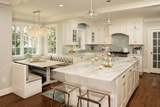 The entire home was renovated by Harry Braswell Inc. out of Alexandria, Virginia, who worked with designer Erin Hoopes of Virginia Kitchens to create the dreamiest kitchen ever, as well as the the custom millwork throughout the home, photographed here by Greg Hadley.