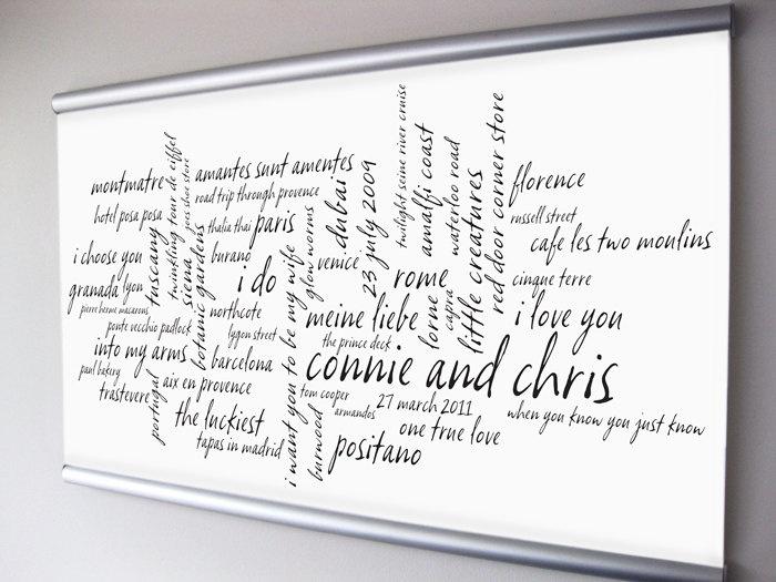 Wedding Gift Word Art : Wedding Anniversary Gift, Couple Personalized Art. Custom Word Art. R ...
