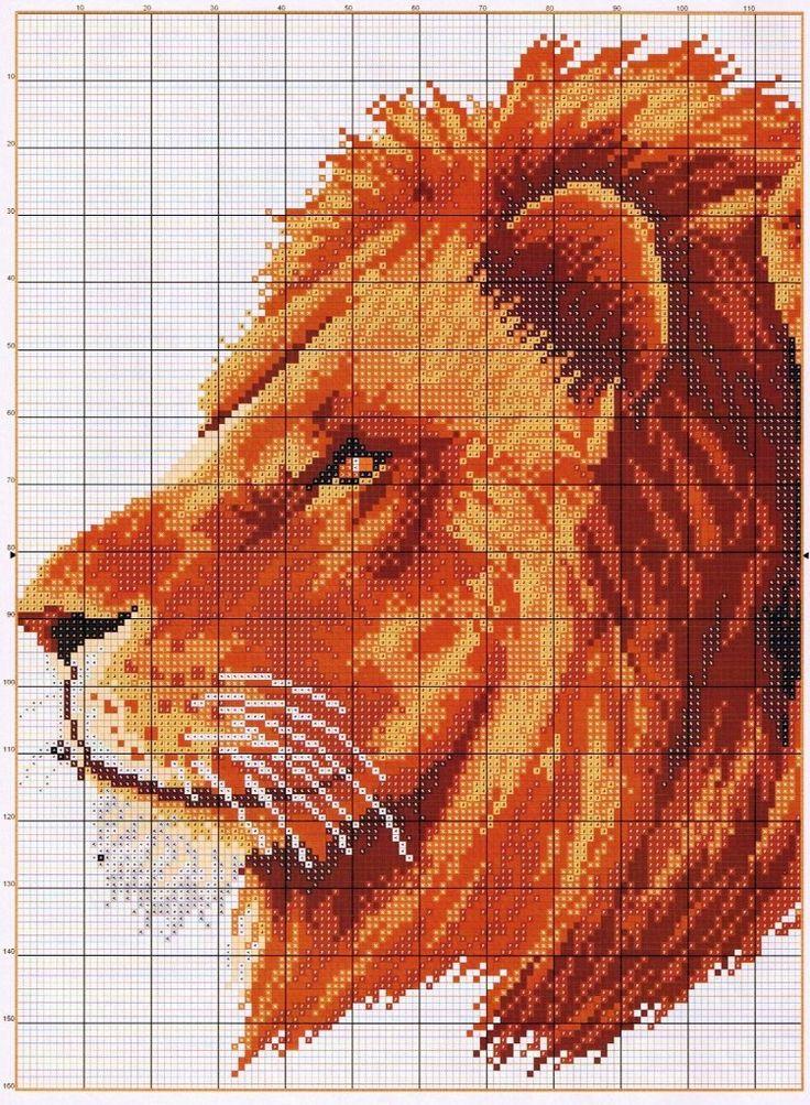 Львы схема вышивки крестиком 84