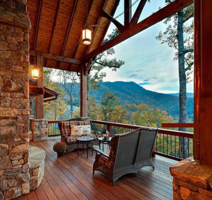 Wow great view wonderful deck backyard balcony for Log cabin porches and decks
