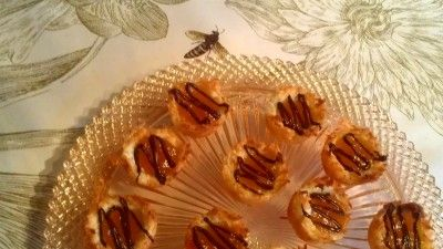 Coconut Macaroon Tartlets with Peach Honey Filling and a Chocolate ...