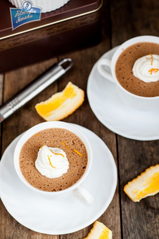Chocolate-orange mousse. So cute in a little coffee cup.