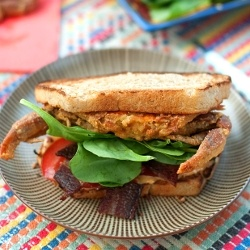 ... special BLT sandwich - topped with a cornmeal crusted soft shell crab
