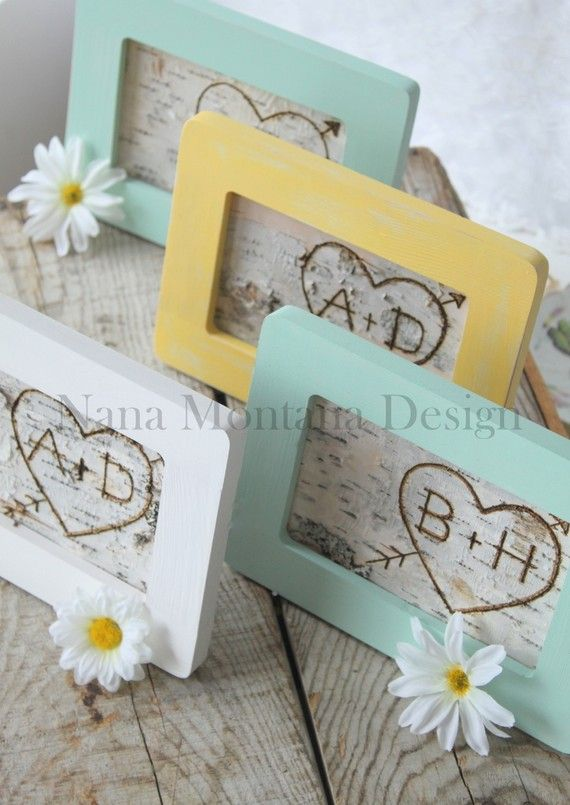 Your initials carved into birch bark and framed