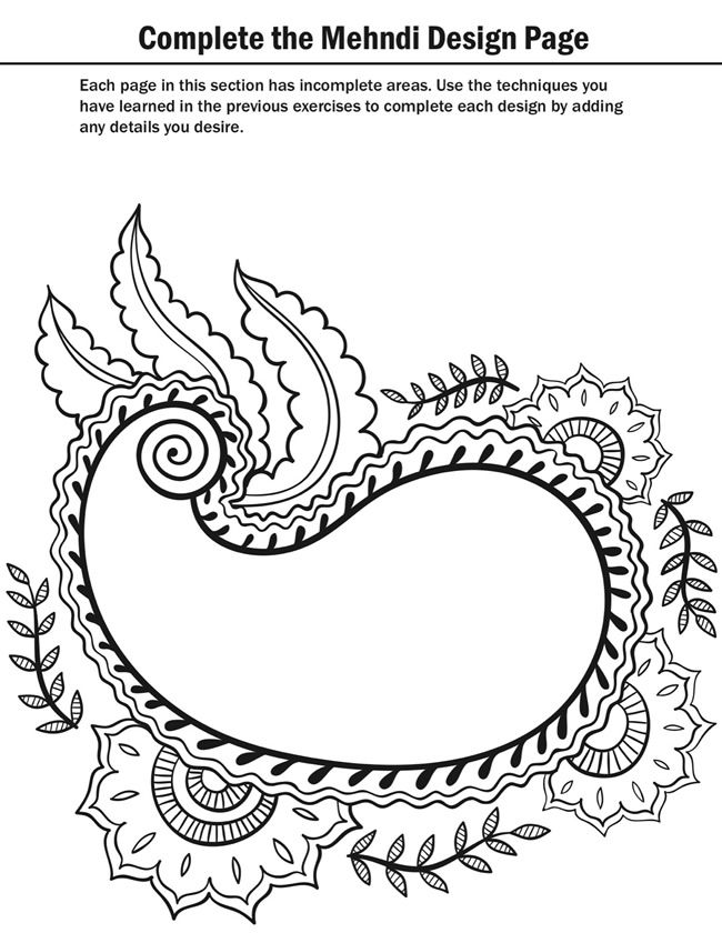mehndi designs coloring book pages - photo#33
