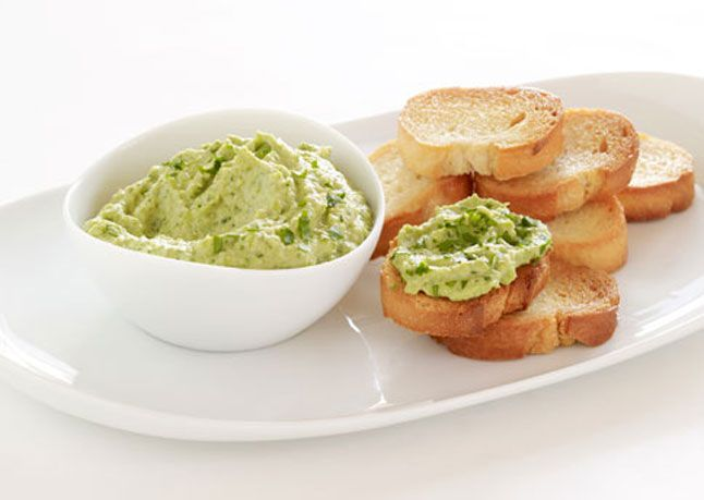 Fresh Pea #Hummus Crostini with Pea Tendril Garnish #recipe # ...