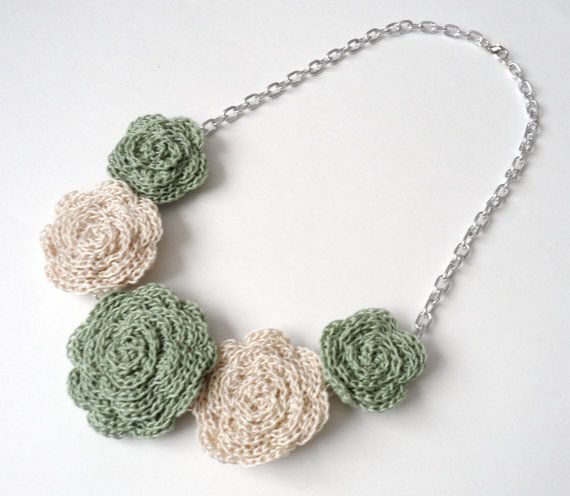 Sage Green and Cream Rose Bib Necklace by SoozieCutiePatooties