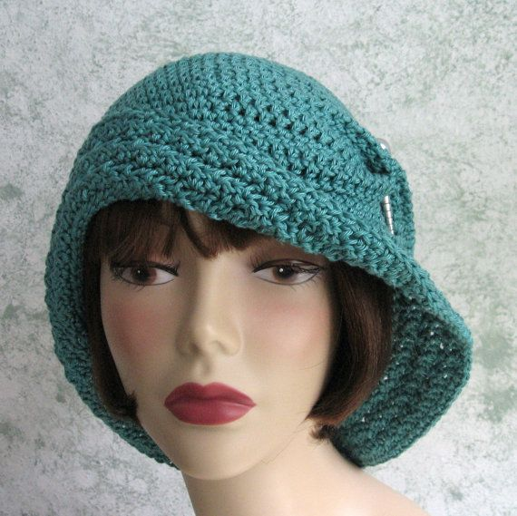 Crochet Cloche Hat Brim Pattern : Womens Crochet Hat Pattern Flapper Cloche With Large Large ...