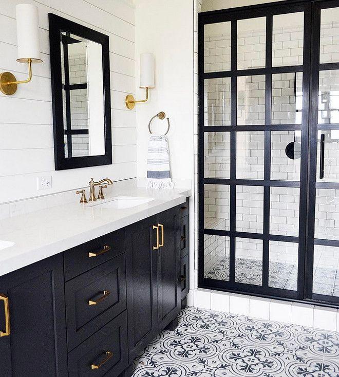 Black and white tiled bathroom floor