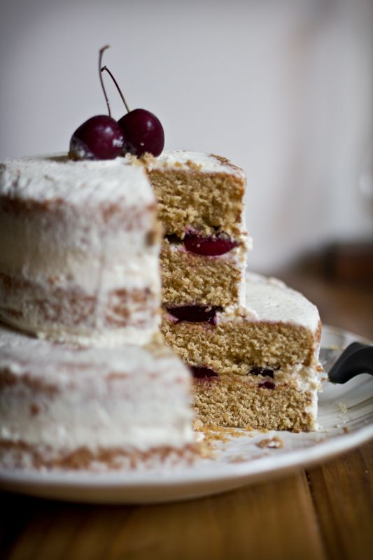 ... in Cooking: Cardamom Brown Sugar Cake with Fresh Cherries & Rose Cream
