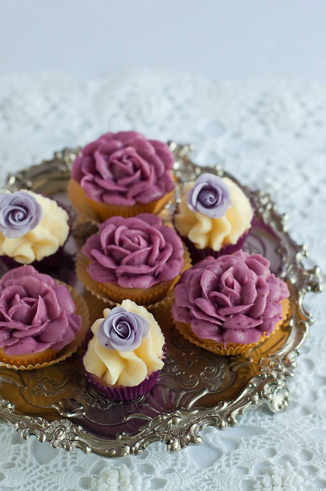 Blueberry Lemon Mini Cupcakes Gum paste and buttercream colored with ...