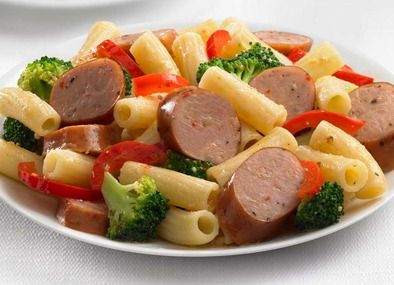 Chicken Sausage and Broccoli Rigatoni....I made this with brown rice ...