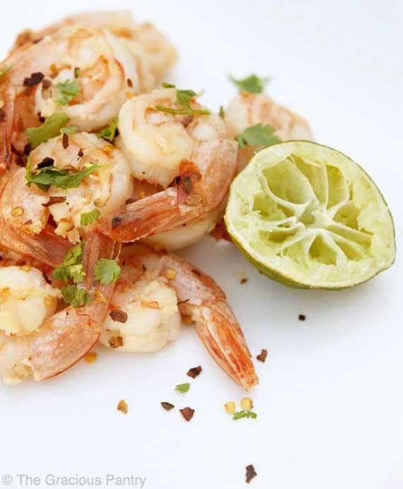 Eating Garlic And Lime Shrimp. Ingredients: pre-cooked shrimp, garlic ...