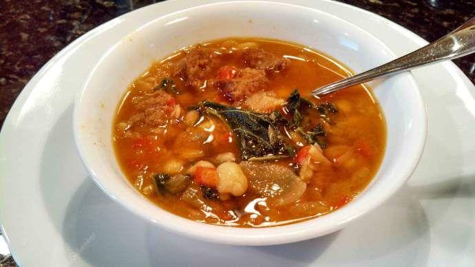 Spanish-Style White Bean, Kale, & Chorizo Soup