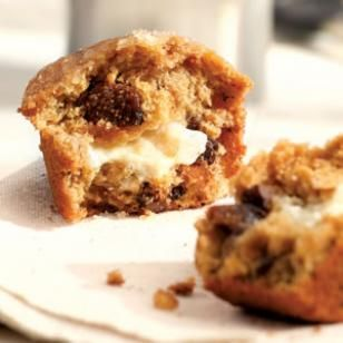 Honey- & Goat Cheese-Filled Fig Muffins-- perfect for brunch (or grab-n-go breakfast)!