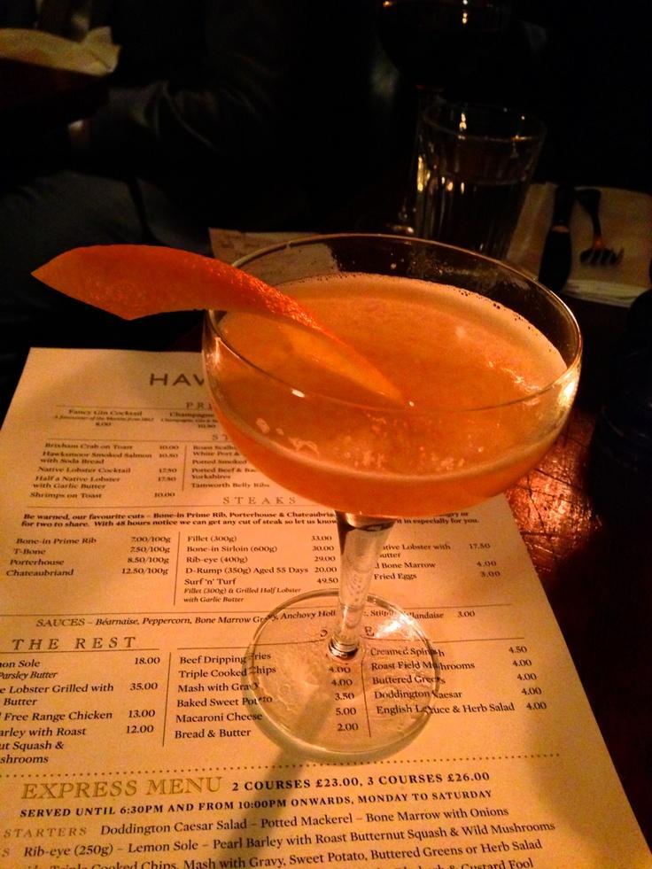 Marmalade Cocktail at Hawksmoor 7 Dials. Gin, Campari, Orange bitters ...