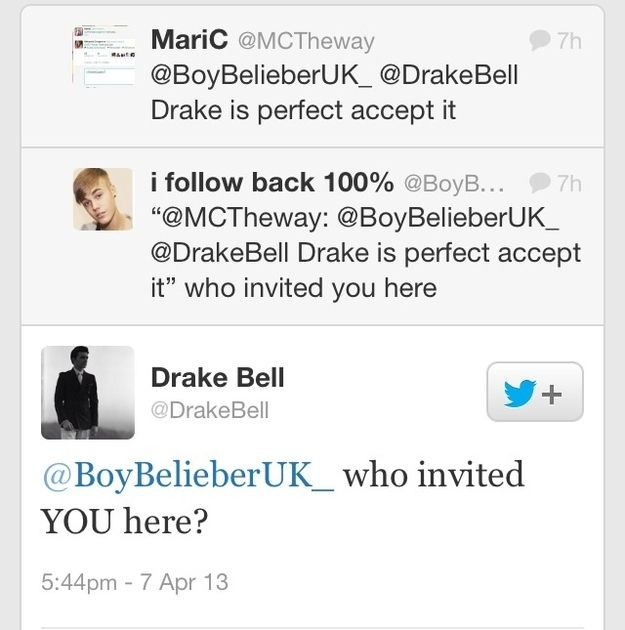 Drake bell makes me want a twitter account just so i can tell him how