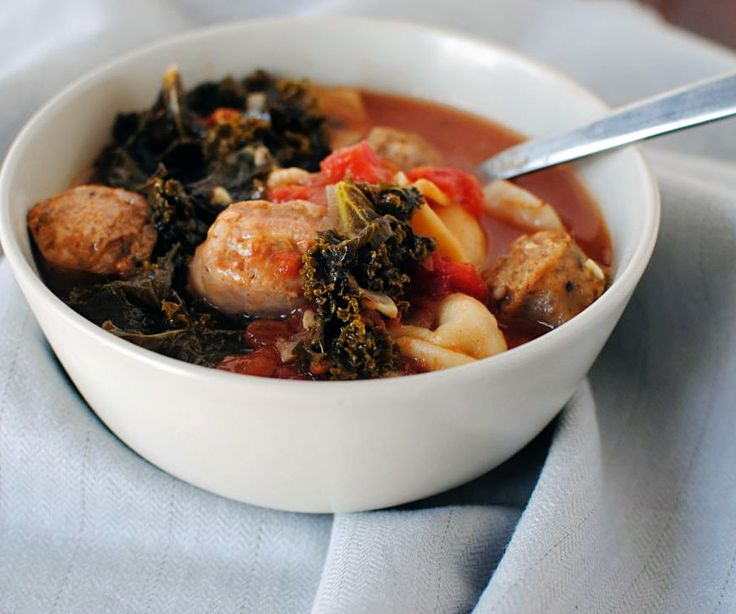 mixed greens and sausage soup with cornmeal dumplings. bon appetit ...